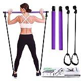 I-WILL Kit Barra per Pilates con Fascia di Resistenza, Fitness Portatile Multifunzionale Esercizio Stick per Esercizi di Fisioterapia, Allenamento della Forza, Yoga, Pilates, Stretching - Viola