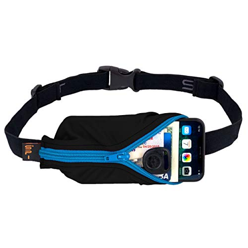 SPIbelt Running Belt Large Pocket, No-Bounce Waist Bag for Runners, iPhone 6 7 8-Plus X Athletes and Adventurers (Black with Turquoise Zipper, 25' Through 47')