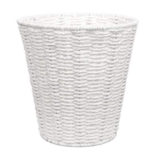 EliteHousewares Woodluv Round Waste Paper Basket Bin - Rubbish Bin for Bedroom, Bathroom, Offices or Home - White