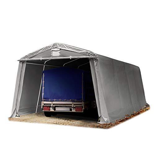 TOOLPORT Zeltgarage 3,3 x 6,2 m Weidezelt Premium Carport ca. 500 g/m² PVC Plane Unterstand Lagerzelt Garage in dunkelgrau