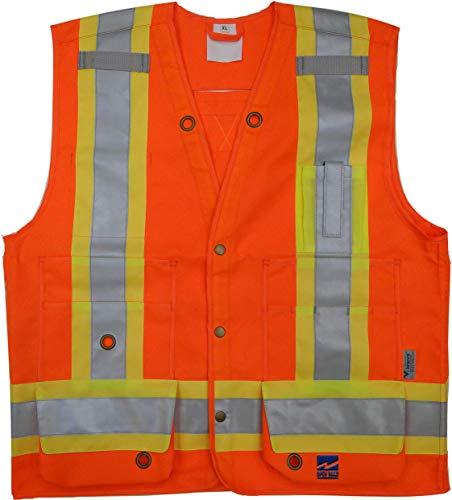Viking 6165O-M Open Road Surveyor Safety-Vest-Vibrance 4-Inch Safety-Stripes-150D Polyester, Medium, Fluorescent Orange