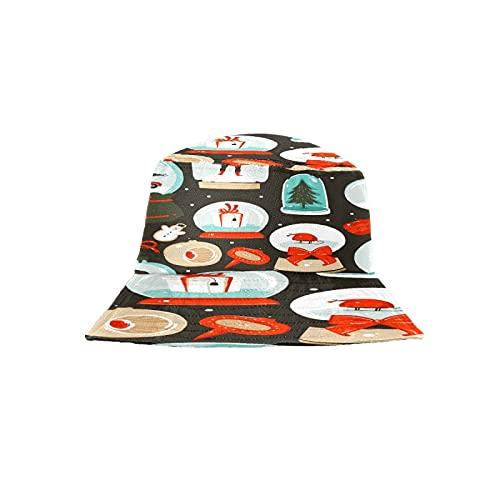 Sombrero de cubo sombrero de playa sombrero de pesca estético para hombres mujeres adolescentes (dibujos animados abstractos lindos juguetes - Retro rojo feliz Navidad)