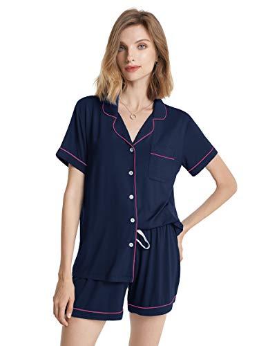 SIORO Pajamas Short Sleeve Sleepwear Soft Cotton Pajamas Set Lightweight Pajamas for Women with PJ Shorts, Navy with Fuchsia Piping, Medium