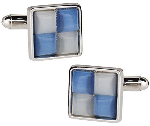 Azul y blanco catseye-style Gemelos de Cuff-Daddy