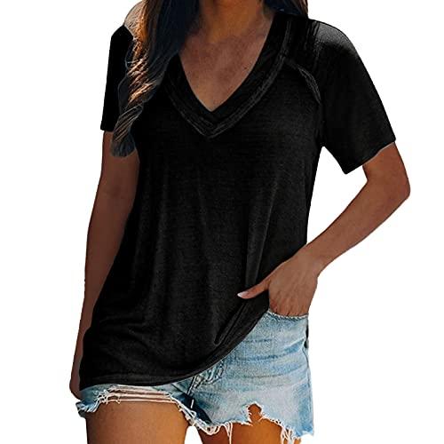 YANFANG Camiseta De Las Mujeres Manga Corta Casual con Cuello En O Blusa Superior Camisas TúNicas,Blusas Cruzadas Mujer,Camiseta Mujer Sexy,Camisetas Blancas,Camisetas Mensaje,Negro,L