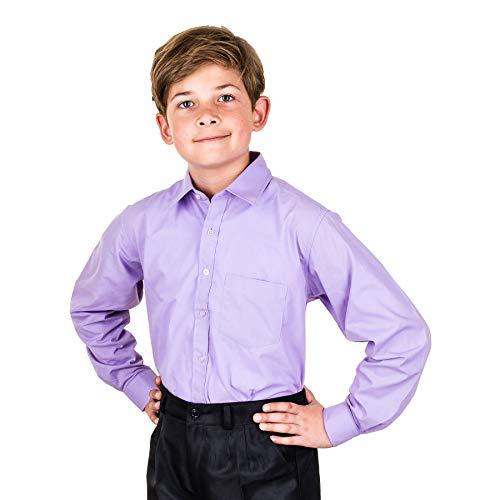Jungen Langarm Anzug Hemd bügelleicht in vielen Farben für Hochzeit Kommunion M473fl Flieder 6/110 / 116