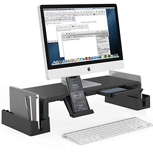 MiiKARE supporto per monitor,supporto per monitor regolabile con cassetto portaoggetti, supporto per monitor pieghevole per laptop, TV, stampante, schermo