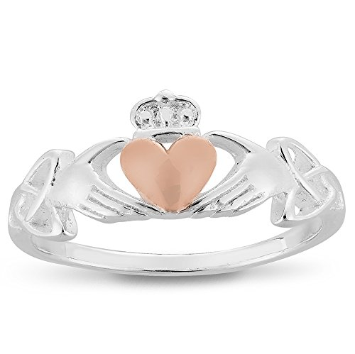 DTPsilver - Damen - Ring 925 Sterling Silber und Rosen-Gold überzogen Keltisch Trinity Knoten Claddagh Herz