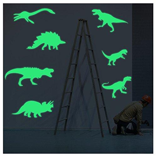 Luminoso Adhesivos decorativos kangrunmy 9pcs niños fluorescentes plástico nuevo dinosaurio moderno dibujo muebles casa de la cámara Décor verde, 15x 6cm