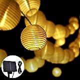 Opard Solar LED Lichterketten Lampions LED 6m 30 Laterne IP65 Wasserdicht für Garten, Hof, Party, Balkon, Hochzeit, Außen, Fest Deko(Warmweiß)