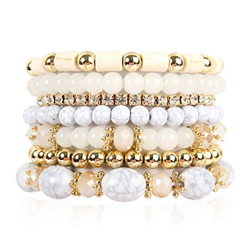 RIAH FASHION Multi Layer Bead Bracelet - Colorful Stacking Beaded Strand Stretch Cuff Statement Bangles Set (Natural)