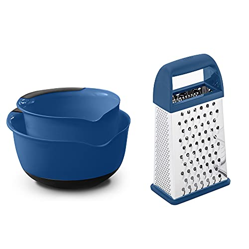 Gorilla Grip Mixing Bowl Set of two and Box Grater, Both in Blue Color, Mixing Bowls Include 5 Qt and three Qt Sizes, Grater is 4-Sides, Includes Detachable Container, 2 Item Bundle