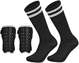 Soccer Shin Pad Over Knee Soccer Socks 2 Pairs Kids Leg Carf Protective Shin Pads Adjustable Perforated Breathable Guard Board and Impact Resistant Soccer Guards Socks Black