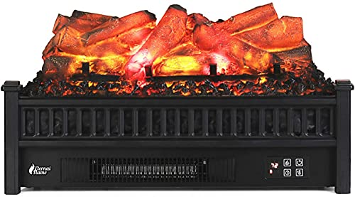 """TURBRO Eternal Flame EF23-LG Electric Fireplace Logs, 23"""" Remote Control Fireplace Insert Log Heater, Realistic Lemonwood Ember Bed, Thermostat, Timer, 1400W Black"""