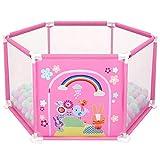 deAO Parc pour bébé et Terrain de Jeu de 50 balles colorées à l'intérieur (hexagone Rose)