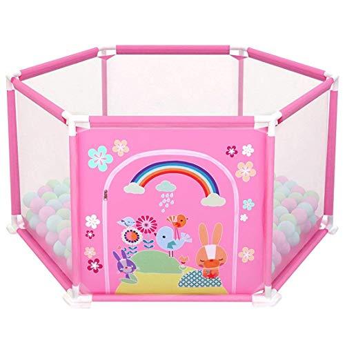 deAO Box per Bambini Parco Giochi e Piscina di Palline Palestrina Include Palle di Colore (Esagono Rosa)