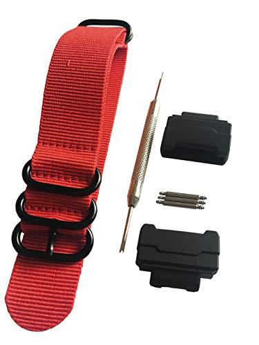 HD Conversion RAF 5 anillos de nylon correa de reloj Adaptadores (16 mm) Kit para Casio GShock MIL-Shock DW-5600 DW-6900 G-5700 GA-100 GDF-100 GL-7200 GLS-5600 Series, rosso, Correa