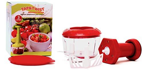 Tap & Twist Mini Hachoir Manuel - Lames en Inox, Couvercle et Fouet - Hachez Facilement - Accessoire de Cuisine Compact et Versatile Sans Besoin d'Électricité (Rouge, 500 ml)