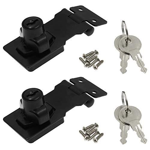 Kyuionty 2Pcs Keyed Hasp Locks 2.5 Inch Twist Knob Keyed Locking Hasp, Metal Safety Hasp Latches Keyed Different for Small Doors, Cabinets (Black)