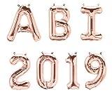 XXL Folien-Ballons ABI 2019 rosé-gold Buchstaben-Girlande Luft-Ballons Schriftzug Höhe 35cm Abitur Schul-Abschluss Abi-Party Feier Schul-Ende Gymansium Matura Diplom Reife-Prüfung...