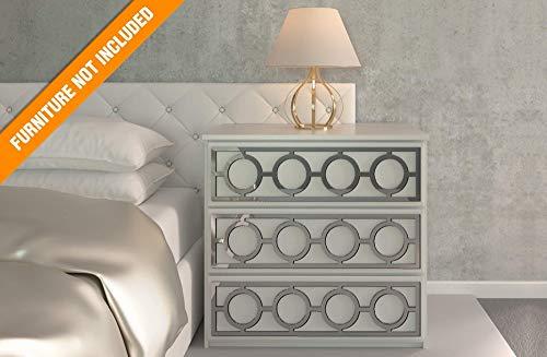 Porto Laubschnittwerk | Geeignet für IKEA Malm | Farbe: Weißes PVC/Repaintable, goldener Spiegel, silberner Spiegel oder gebürstetes Silber