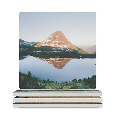 Wraill Ceramic Coasters Mountain Tree Lake Reflection Landscape Square Coaster Set 4/6 Pieces Absorbent Coasters with Cork Base for Glasses Cup White 4pcs
