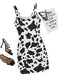 Romwe Women's Cow Print Sleeveless Scoop Neck Bodycon Tank Mini Dress Black and White M