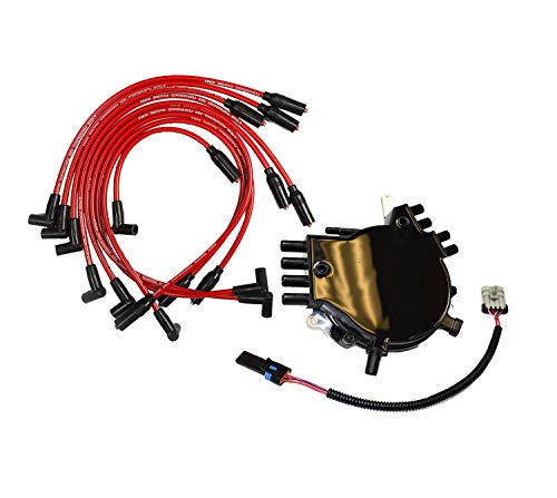 A-Team Performance Complete Optispark Spline Drive Distributor with Spark Plug Wires Compatible with Chevy Chevrolet GMC 95-97 LT1 LT4 Corvette Camaro V8 5.7L Black Cap