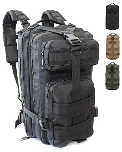 Army Military Tactical Assault Rucksack Professional 30 Litres, Hiking, Hunting, Trekking Backpack Travel Army, Mushroom Backpack, Fishing Softair, unisex_adult, Black