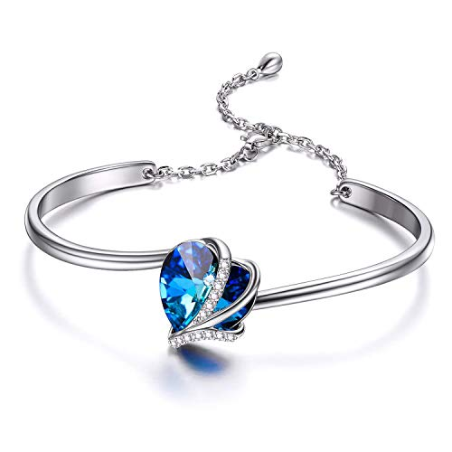AOBOCO Sterling Silver Love Heart Bangle Bracelet...