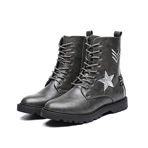 ZYT Martin Boots Aux Femmes Rond Doigt De Pied Lase-Up Cheville L'automne Bottes Cuir De Dames Bottines De Combat (Gris),36