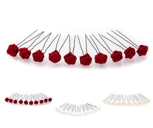10 épingles à cheveux roses - Accessoires de mariée - Set noir - Rouge Bordeaux