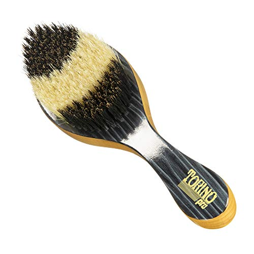 Torino Pro Wave Brush #55- Hybrid Curve brush with Medium and Soft Bristles 100% Boar Bristles- Patented two-tone design - Great Curved brush for 360 waves