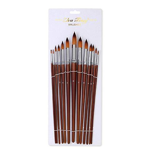 Paint Brush, Entweg Paint Brushes, 13pcs Professional Art Paint Brushes Set Long Wooden Handle Nylon Hair Paintbrush for Acrylic Oil Watercolor Gouache Face Painting Drawing Art Supplies, Round Tip