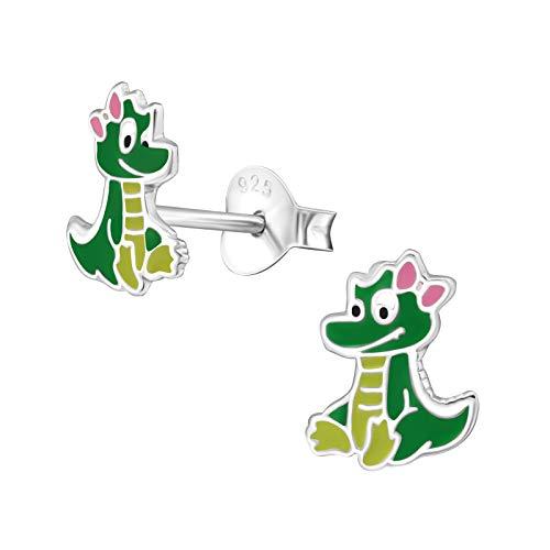 laimons niña niños de pendientes joyas dinosaurios Niños Plano Verde, Amarillo, Plata de ley 925