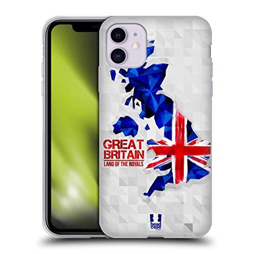 Head Case Designs Gran Bretaña Mapas Geométricos Carcasa de Gel de Silicona Compatible con Apple iPhone 11