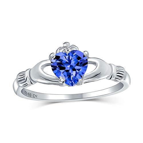 Bling Jewelry BFF Celtic Irish Friendship Promise CZ Azul simulado Zafiro corazón Claddagh Anillo para Las Mujeres 925 Plata de Ley