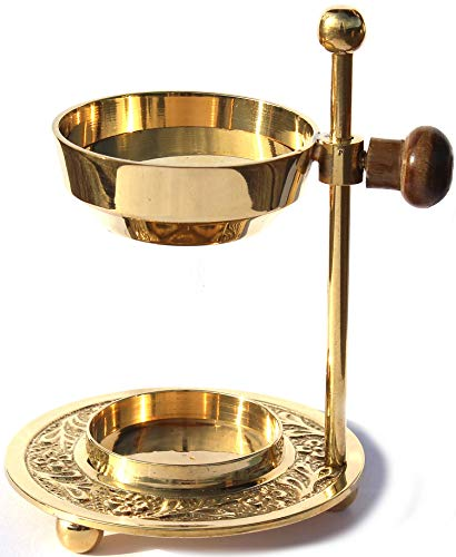 Weihrauchbrenner verstellbar - Gold Messing Räuchergefäß höhenverstellbar zum Räuchern von Weihrauch oder Harzen mit zusätzlichen Einlegeplättchen