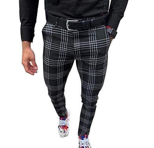 Hellomiko Pantalones de Skate Deportivos Deportivos para Hombres Pantalones Pitillo a Cuadros con Mezcla de algodón con Cremallera