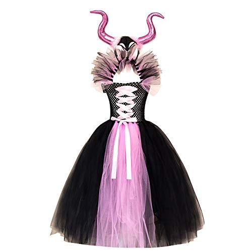 IBTOM CASTLE Disfraz Malfica Nia Bruja Vampiresa Reina Malvada Maleficent Princesa Tutu Vestido+Diadema de Cuernos Halloween Navidad Carnaval Cumpleaos Fiesta de Cosplay Disfraces Rosado 8-9 Aos