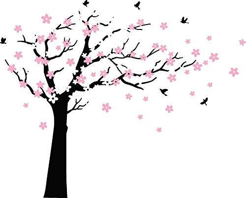 Grote pruim bloesem boom muur Stickers met vogels Vinyl muurstickers voor kinderen baby kinderkamer Décor Zwart, roze
