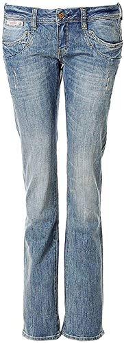 Herrlicher Damen Jeans Jeanshose Piper Straight Glitzer D9909 Destroyed (Bright Washed, W25/L30)