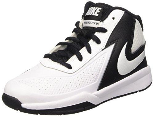 Nike Nike Team Hustle D 7 (PS) Jungen sportschuhe - basketball, - Blanc / noir (Blanc / Blanc-Black), 28 EU