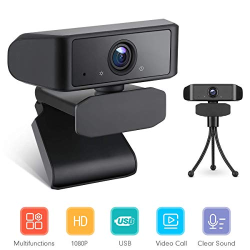 Webcam with Microphone, PC Web Camera Full HD 1080P with Wide Angle and Tripod, USB Computer Camera for PC Laptop Desktop Video Calling Recording Streaming Video Conference Online Teaching