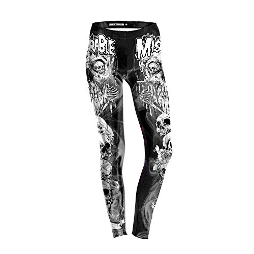 FANGNVREN Yoga Hose,Frauen Totenkopf Bedruckt Yoga Hosen Professional Fitness Gym Sport Stretch Leggings Enge Hose Bleistift Leggins Strumpfhosen Hose, Photo Color, L