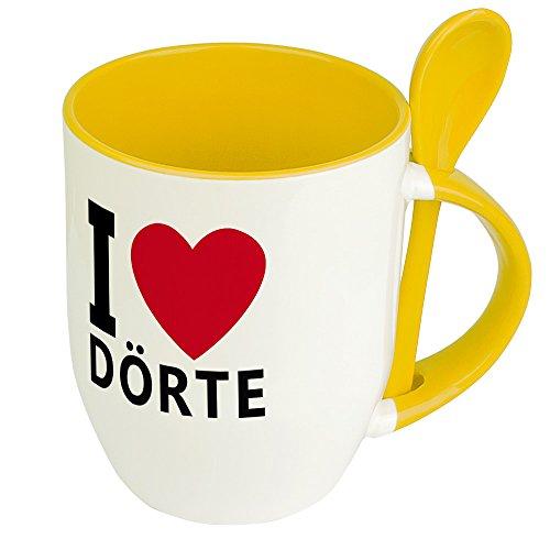 Namenstasse Dörte - Löffel-Tasse mit Namens-Motiv