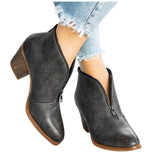 Swiusd Women's Midi Heel Ankle Booties Retro Zip Up Leather Waterproof Boots Classic Non Slip Office Work Shoes Outdoor Western Shoes (Gray, US:8.5)