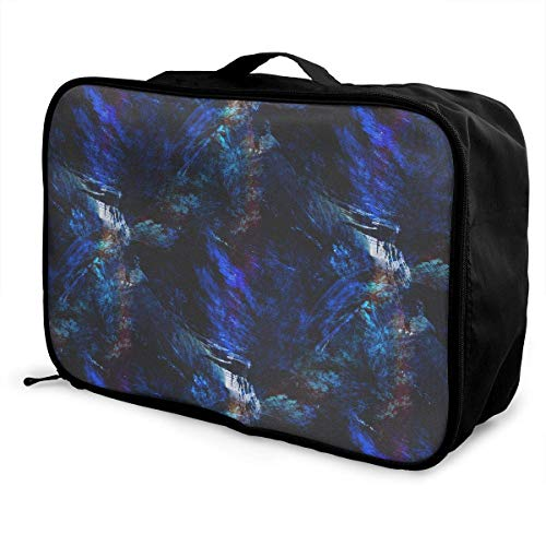 Qurbet Bolsas de Viaje, Textured Palette Blue Black Pattern Overnight Carry On...