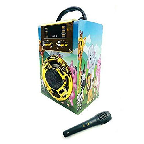 Altavoz Karaoke con Micrófono 25W Reproductor Radio FM MP3 Dos Entrada Mic Inalámbrico Portátil Madera USB SD Card Recargable con Mando (Oro)