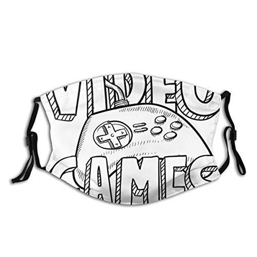MEIDUOSI Doodle Style Videospiele Typografie Design mit einem Controller Skizze Staub Gesicht Abdeckung Waschbar Wiederverwendbar, Staubdicht, Radfahren